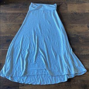 Lularoe white and gray striped maxi skirt XS